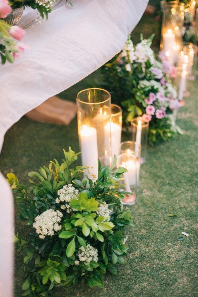 candle-lit aisle