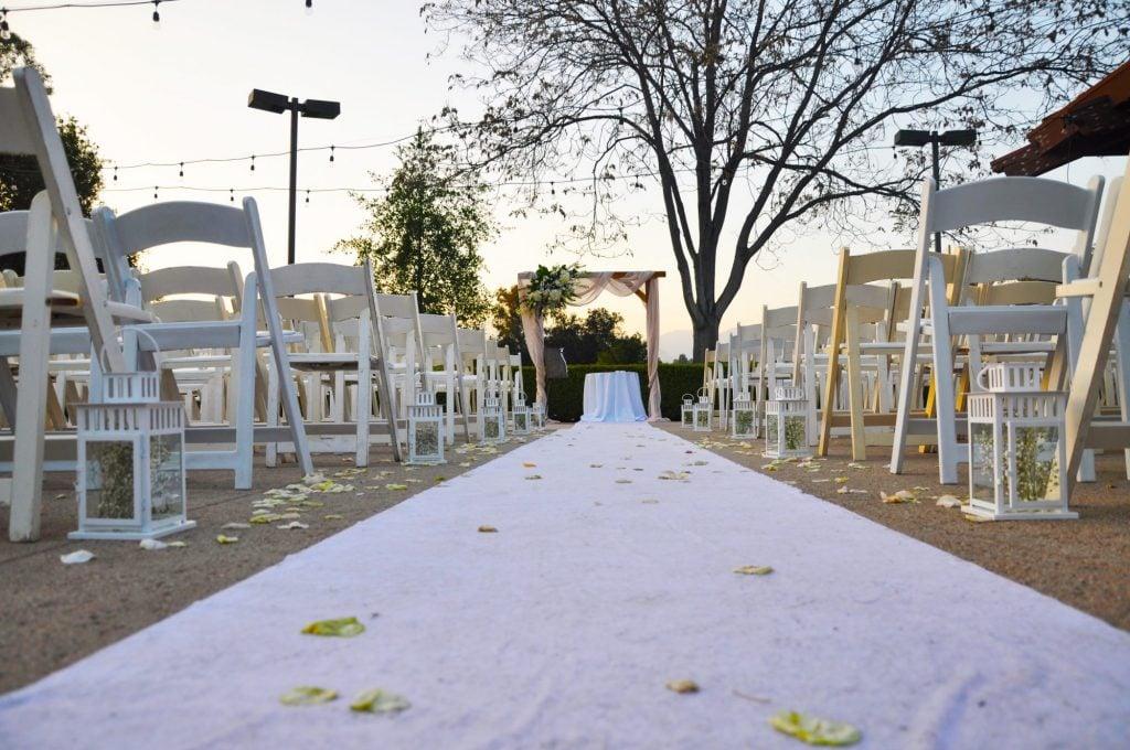 white wedding aisle runner