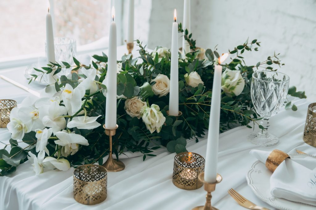 green and gold floral arrangements