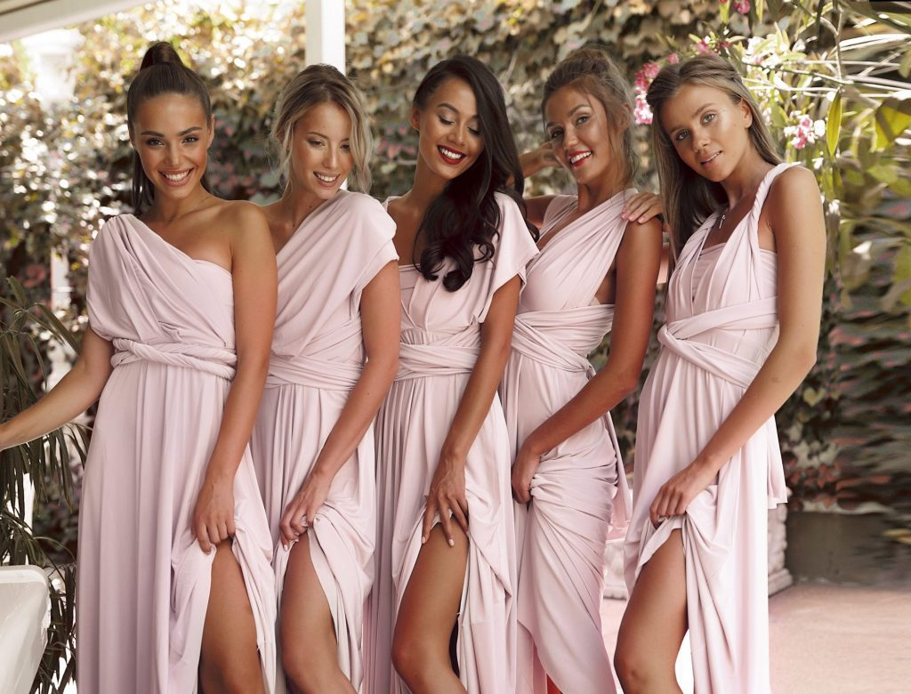bridesmaids in different style dresses