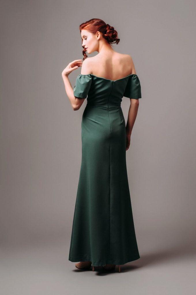 formal floor length green dress