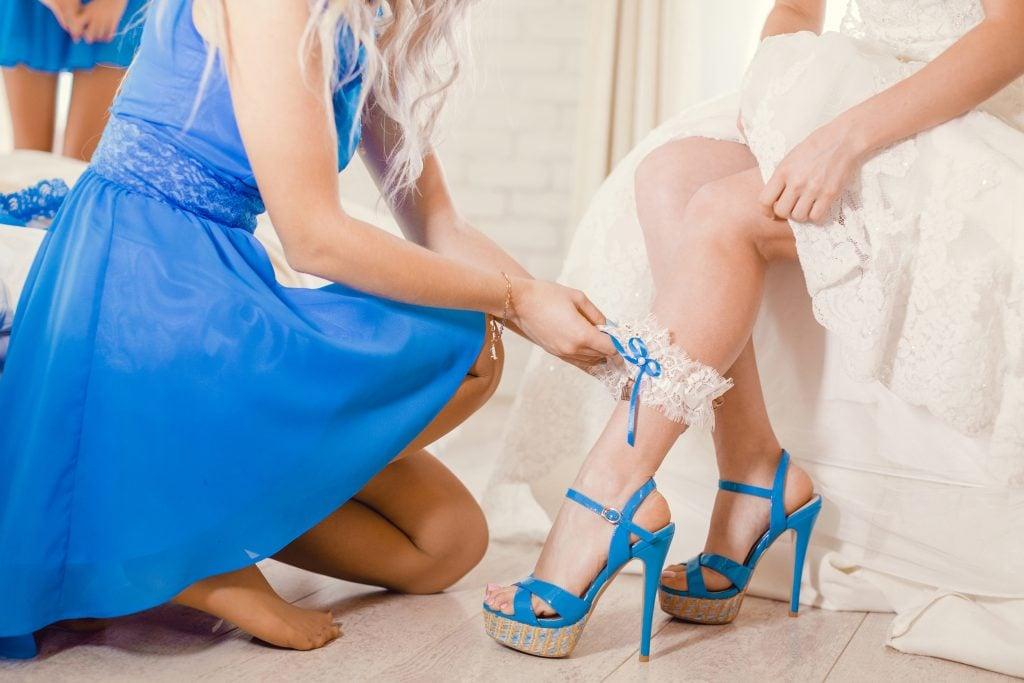 wedding garter blue