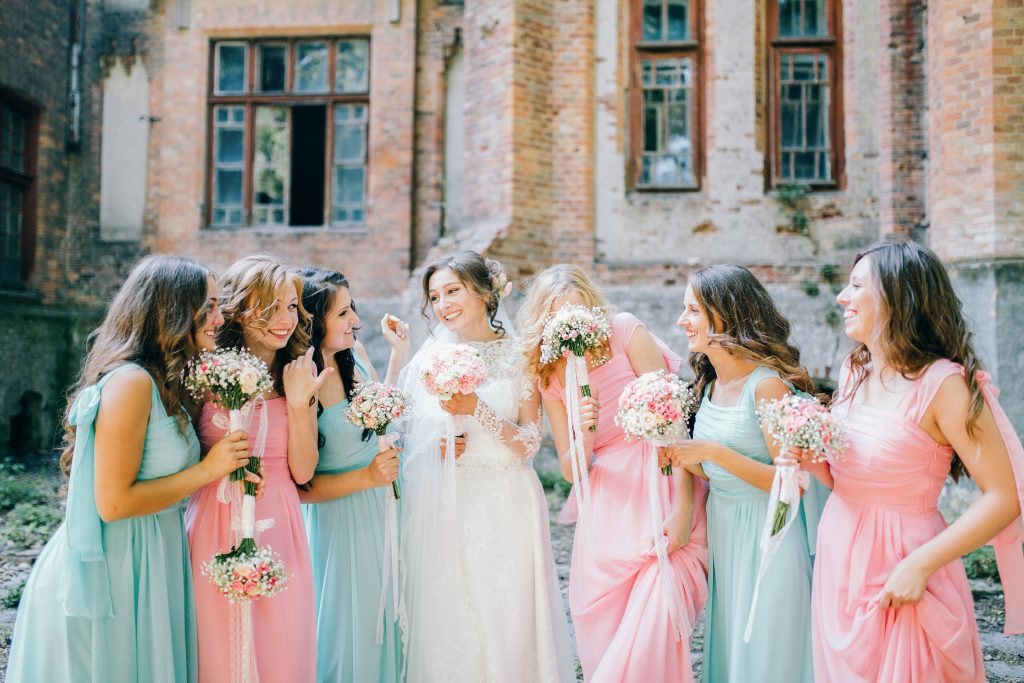 wedding party in different colors