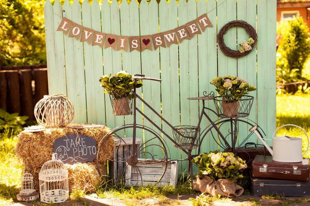 vintage wedding bike and sign