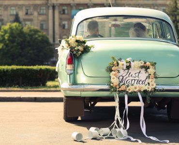 vintage car just married