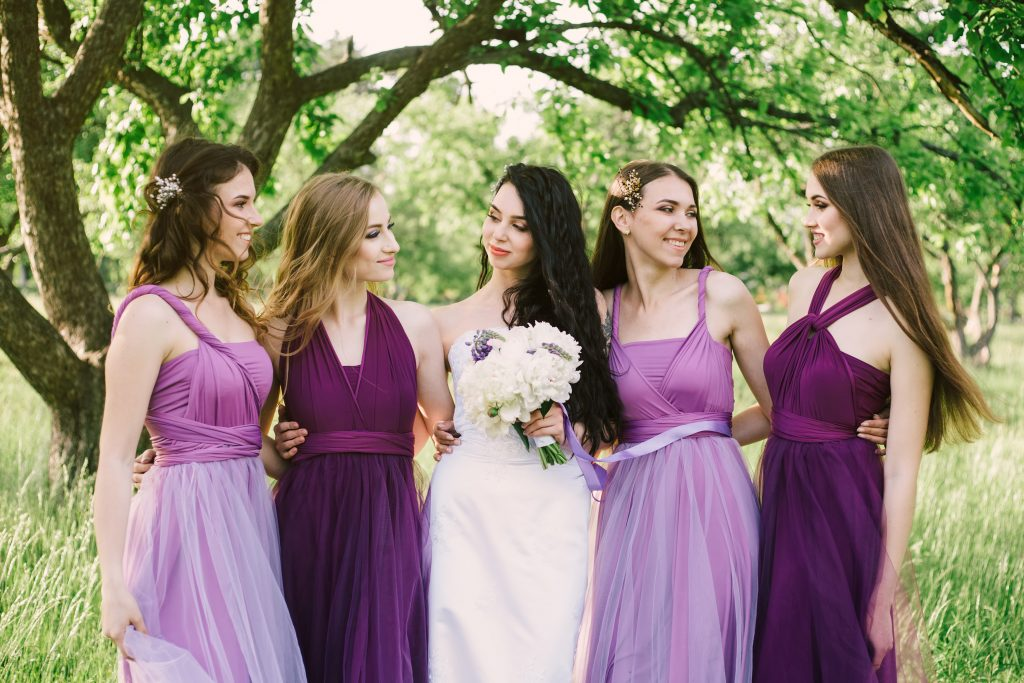 bridesmaids dresses in different colors and styles