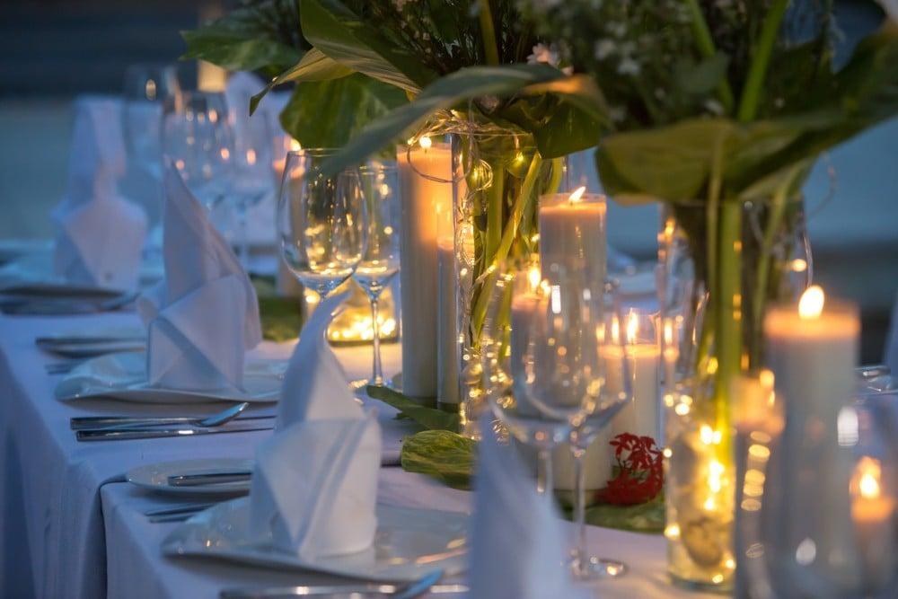 candle lit wedding table