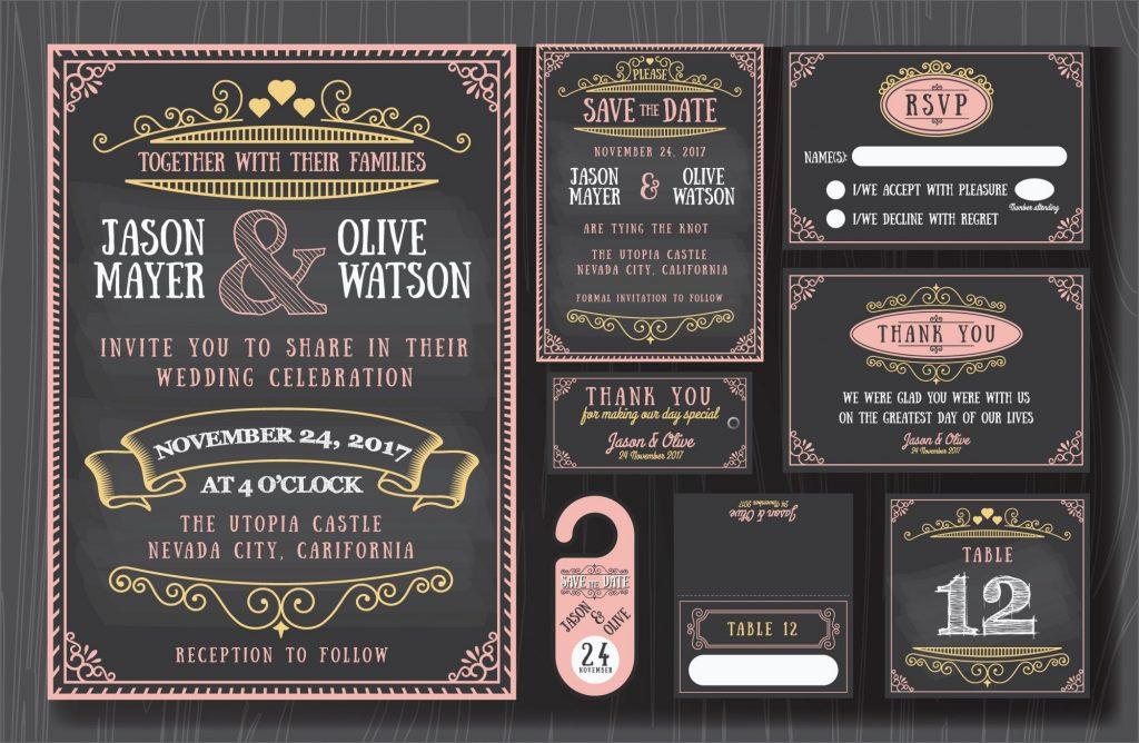 Chalkboard fall wedding invitations
