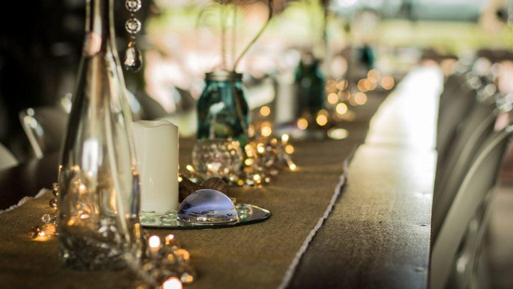 fairy lights as table runner