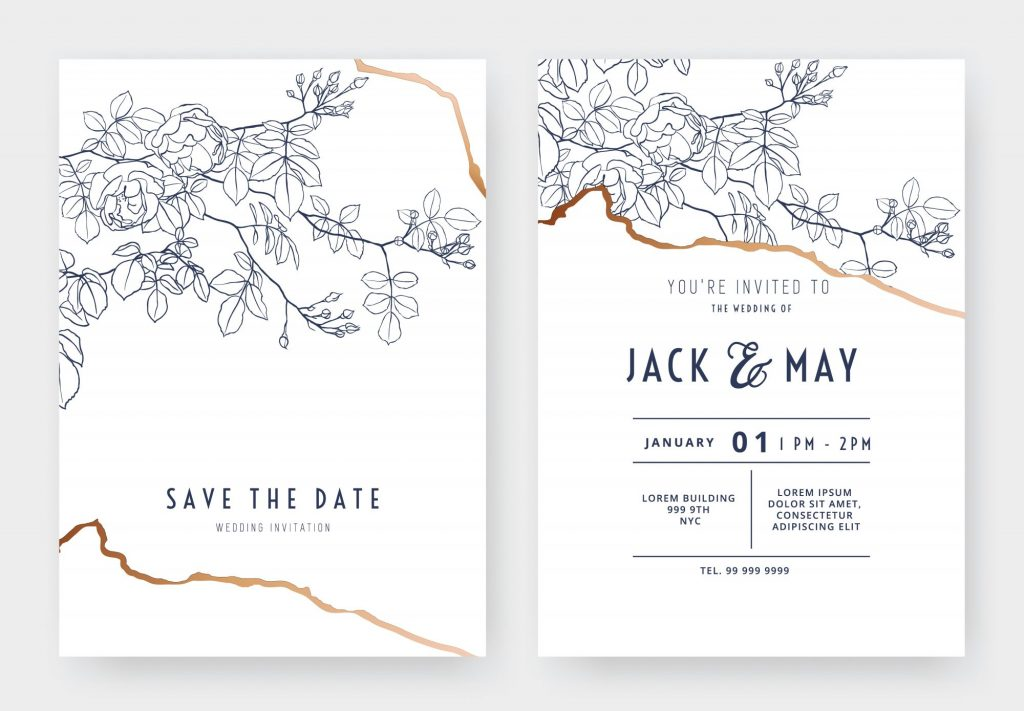 accents in fall wedding invitation