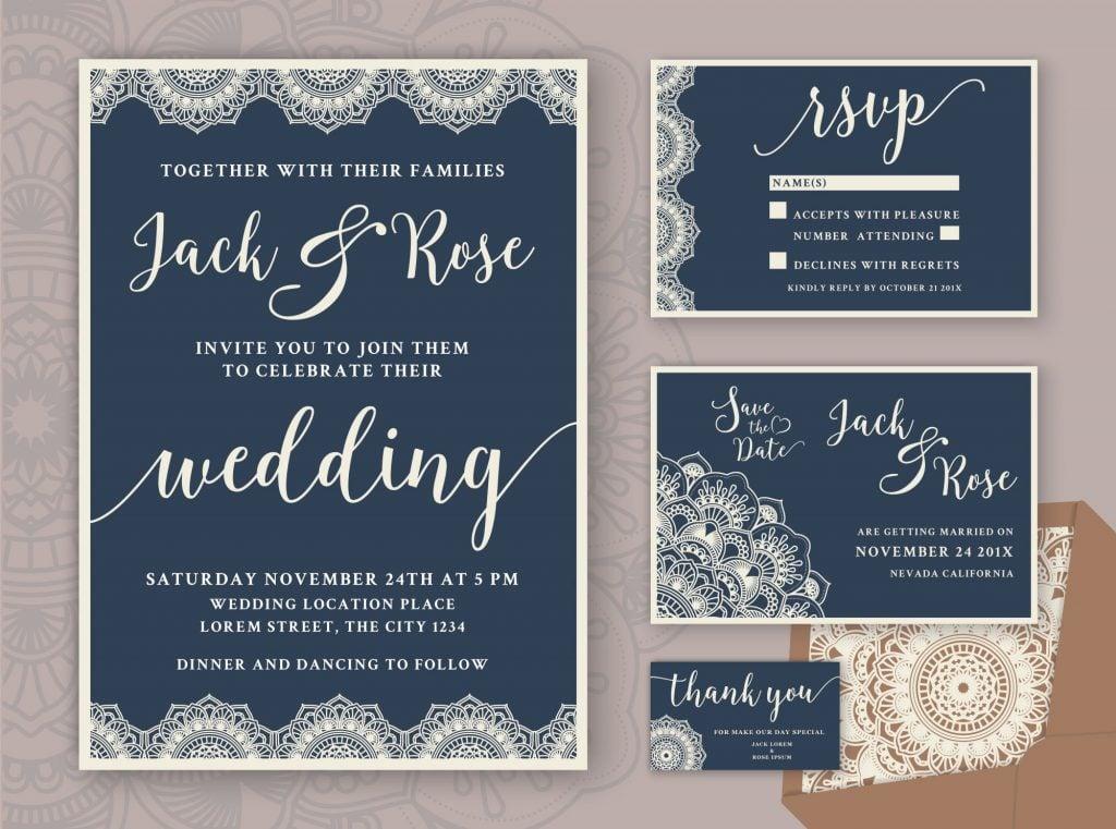 mandala fall wedding invitations