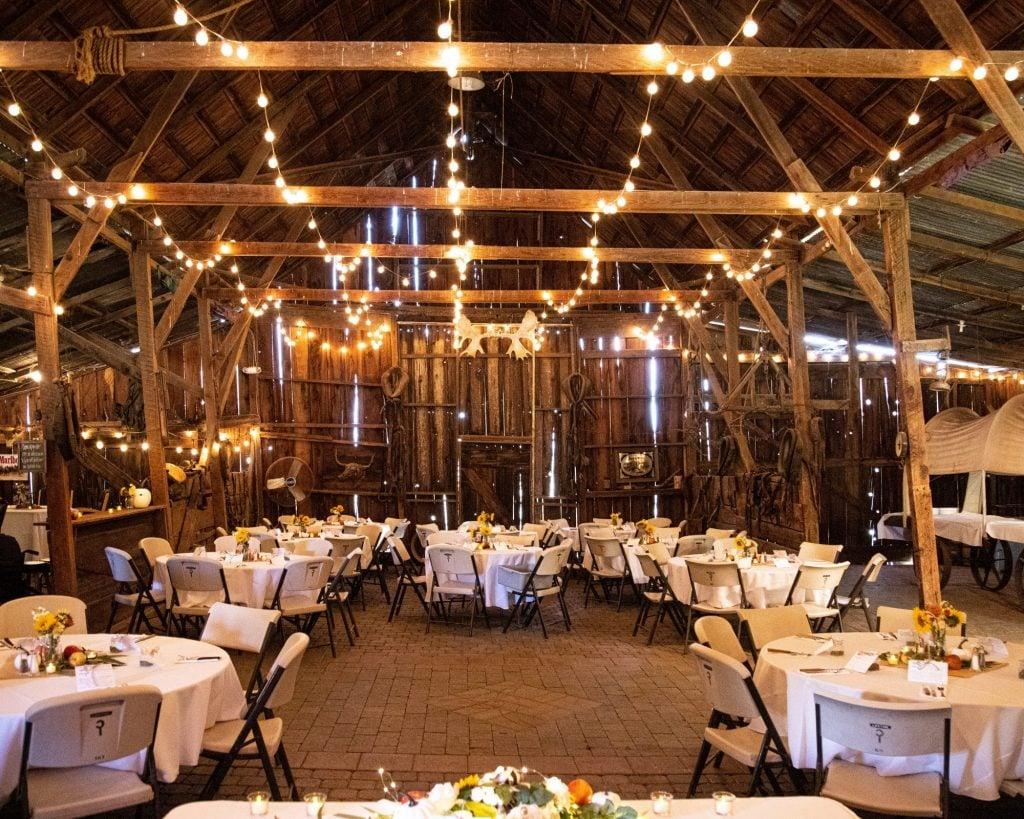 wedding decor in a barn