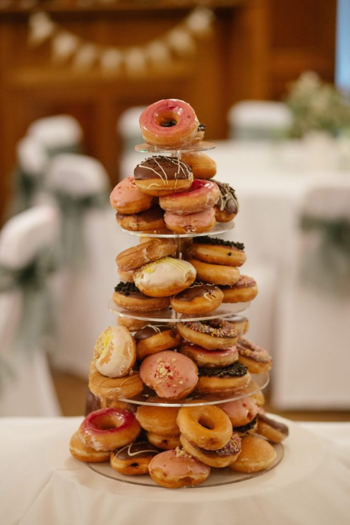 donuts on a round stand