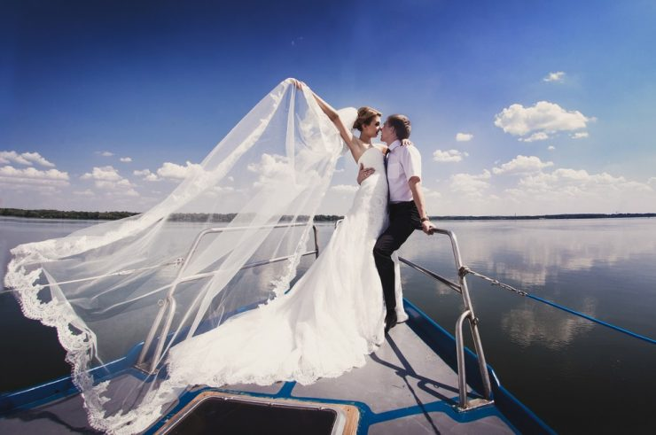 nautical wedding bride and groom
