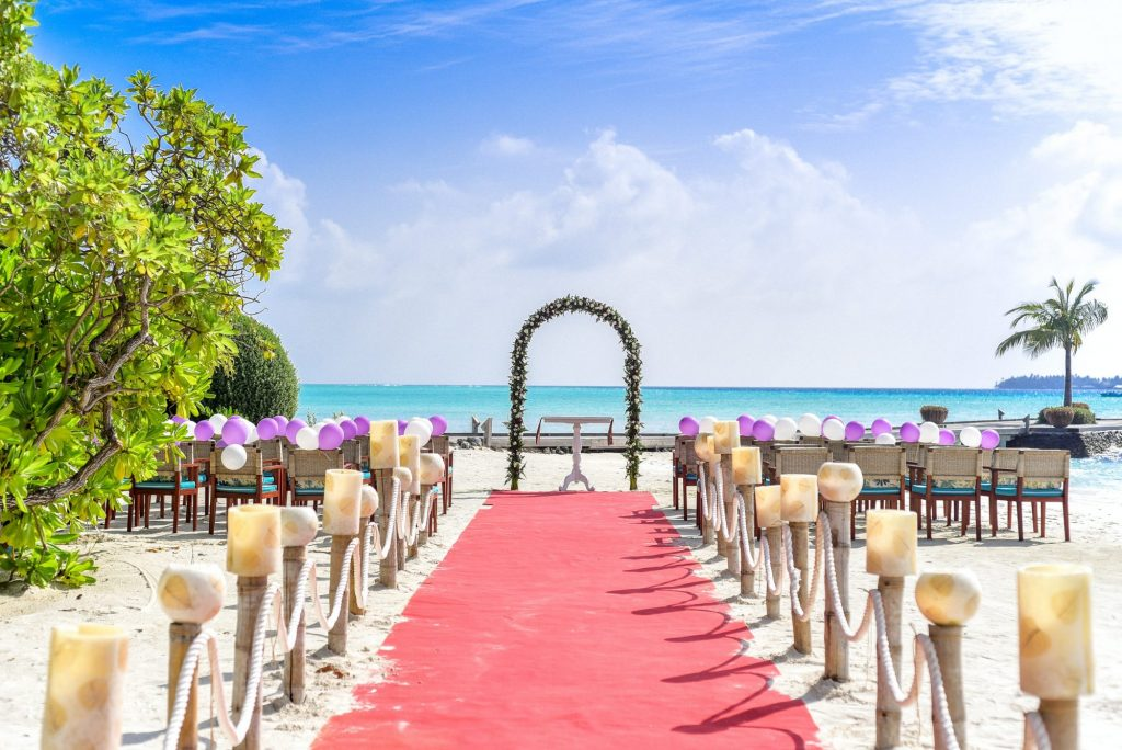 ceremony at tropical wedding