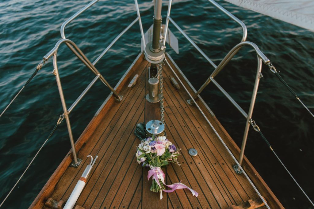 front of boat with flowers