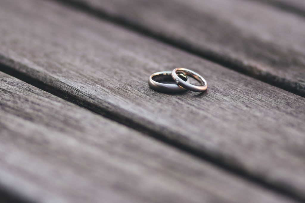rings on wooden background