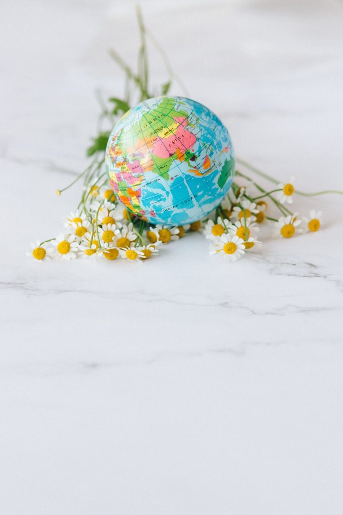 globe with florals