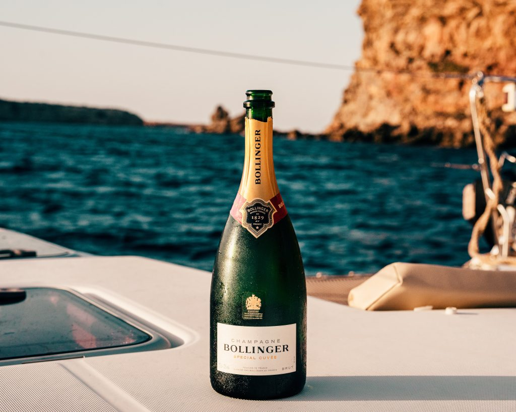 champagne bottle on boat