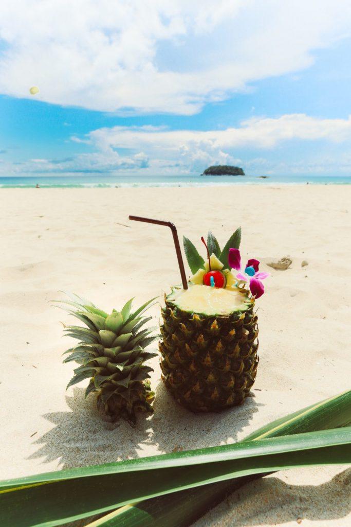 tropical drink on a gorgeous beach