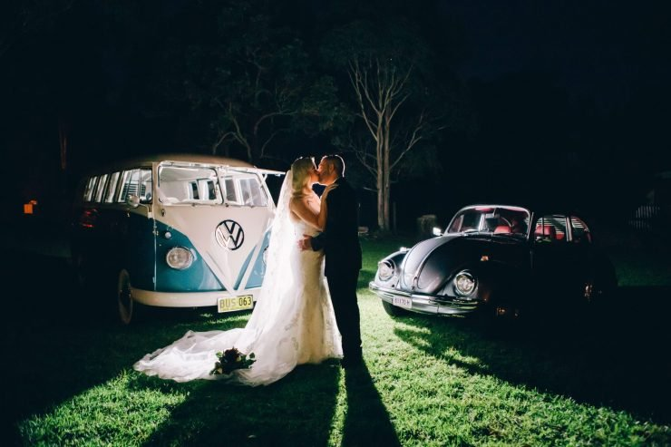 bride and groom outdoors at rustic wedding