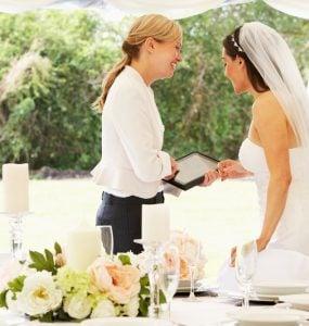 wedding planner with bride