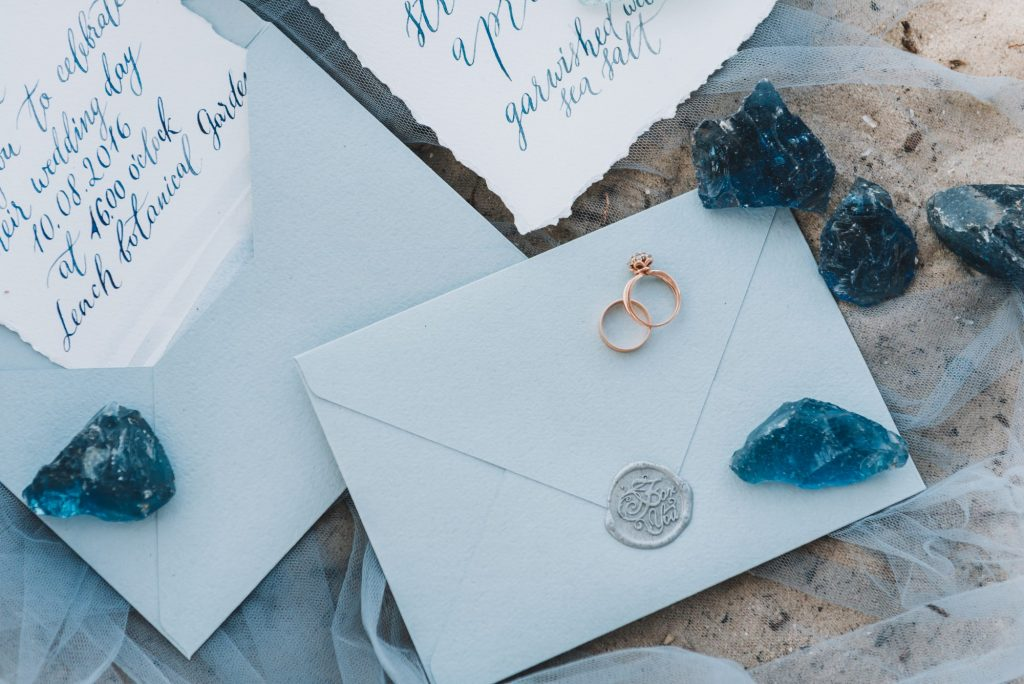 stationery suite at beach wedding