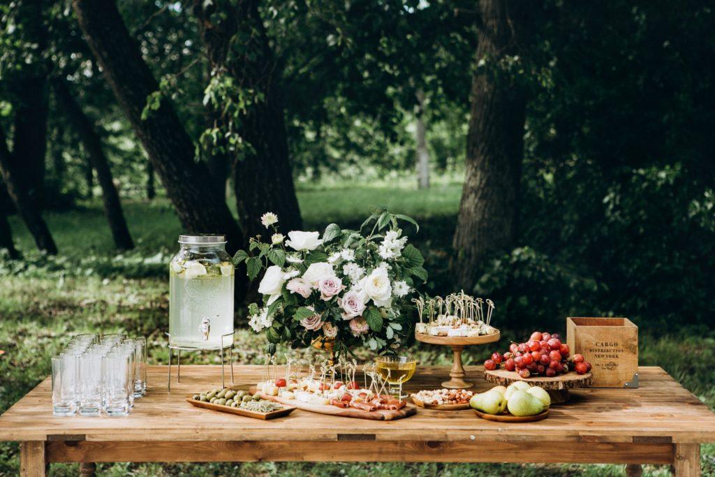 dessert table at garden wedding