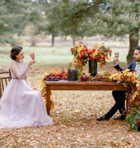 wedding sweetheart table with bride and groom