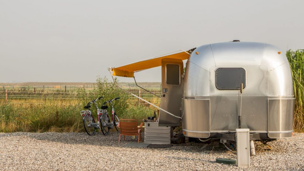vintage trailer at camp wedding