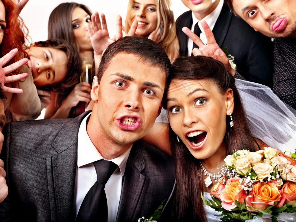 wedding party having photoshoot