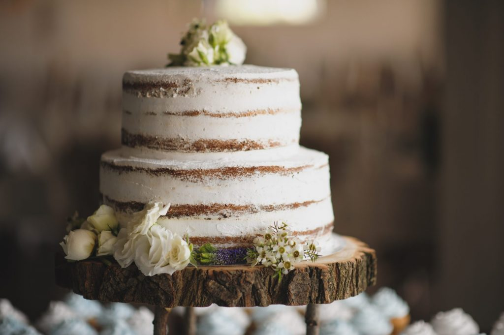 wood plate with cake