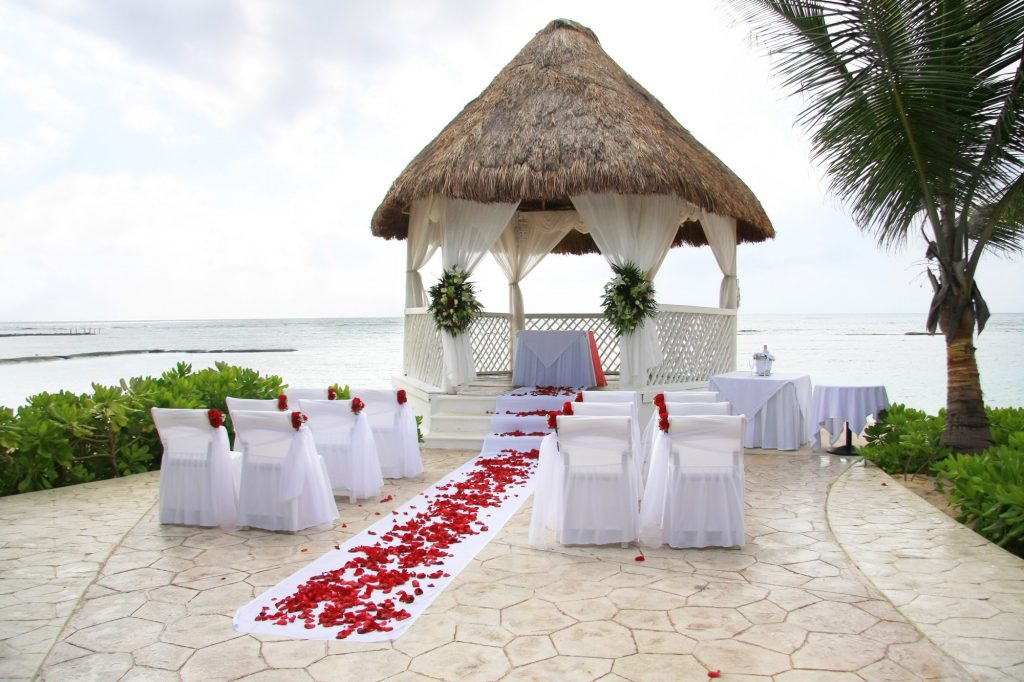 ceremony at small tropical wedding