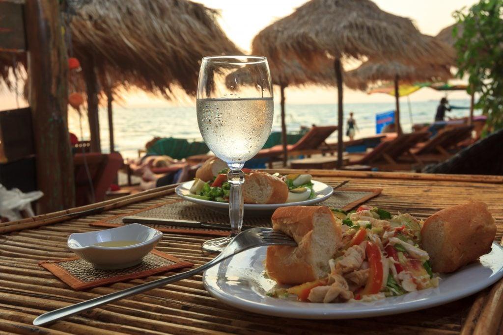 tropical food at wedding reception