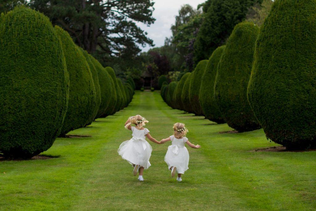 flower girls at garden wedding