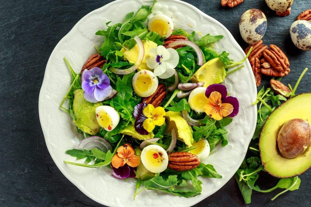 edible flowers on a salad