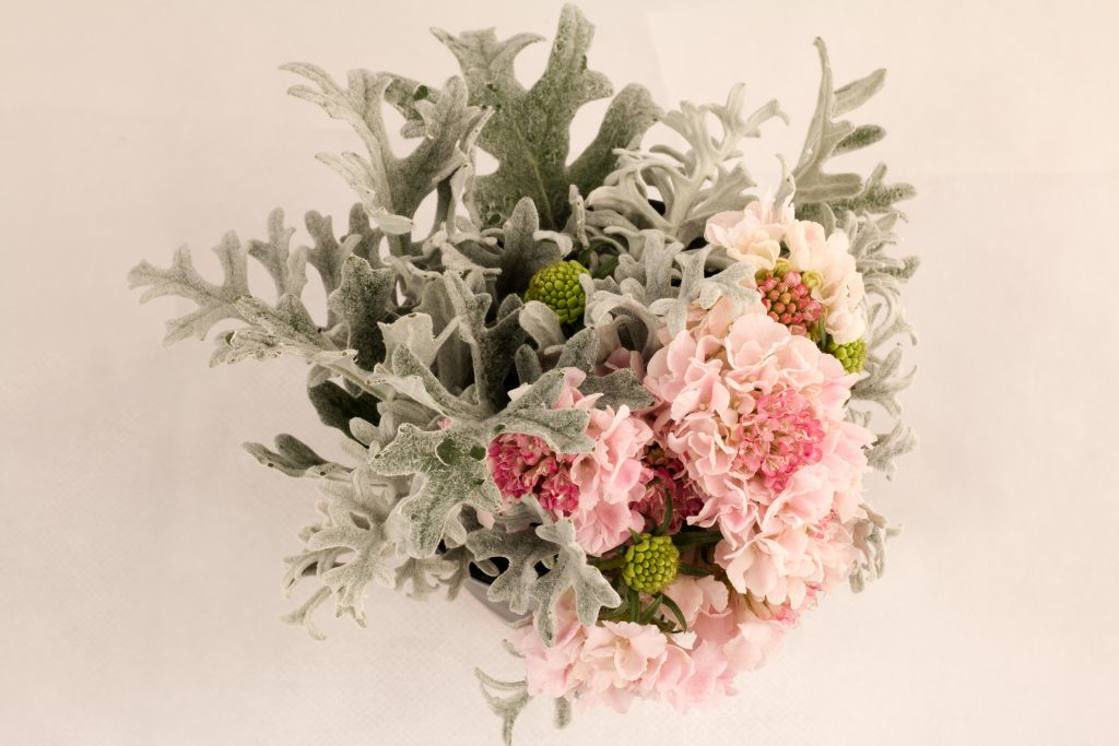 Dusty Miller and pink flower bouquet
