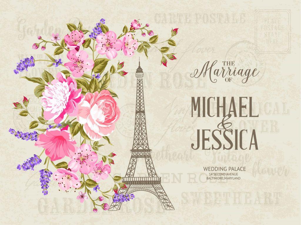 Paris themed wedding invitations