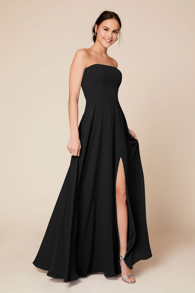 woman in strapless black gown