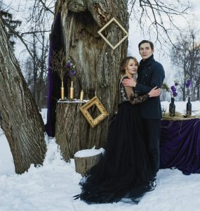 bride and groom at gothic wedding
