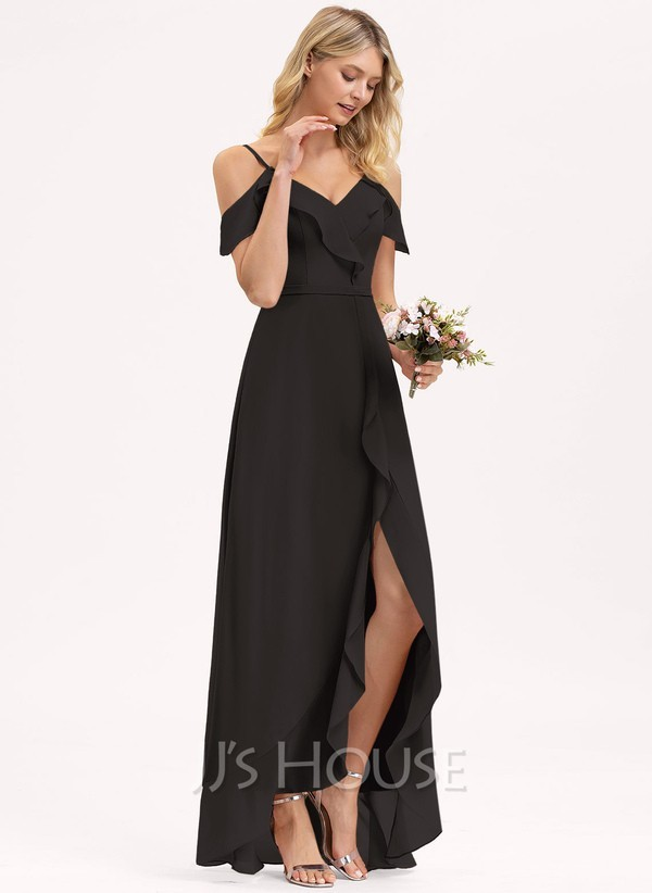 woman in black cold shoulder high low dress