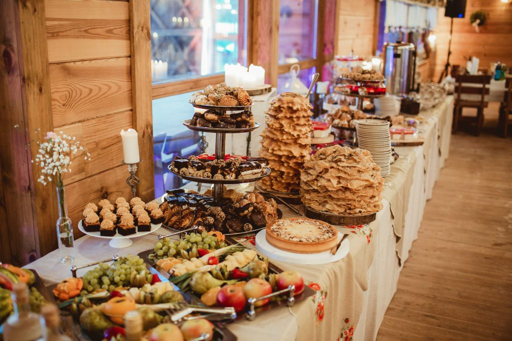 various Polish wedding sweets displayed on a table