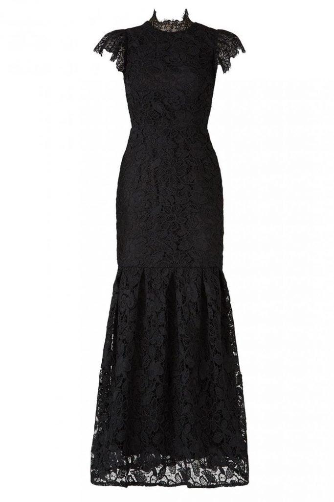 black lace trumpet gown