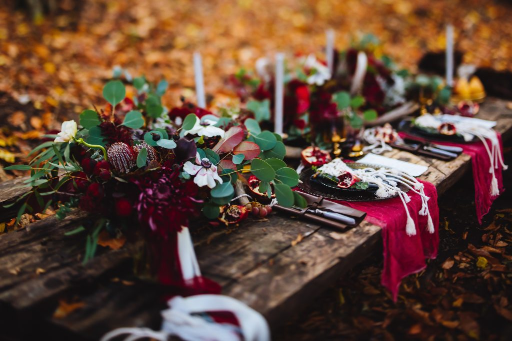 Red and grey wedding reception