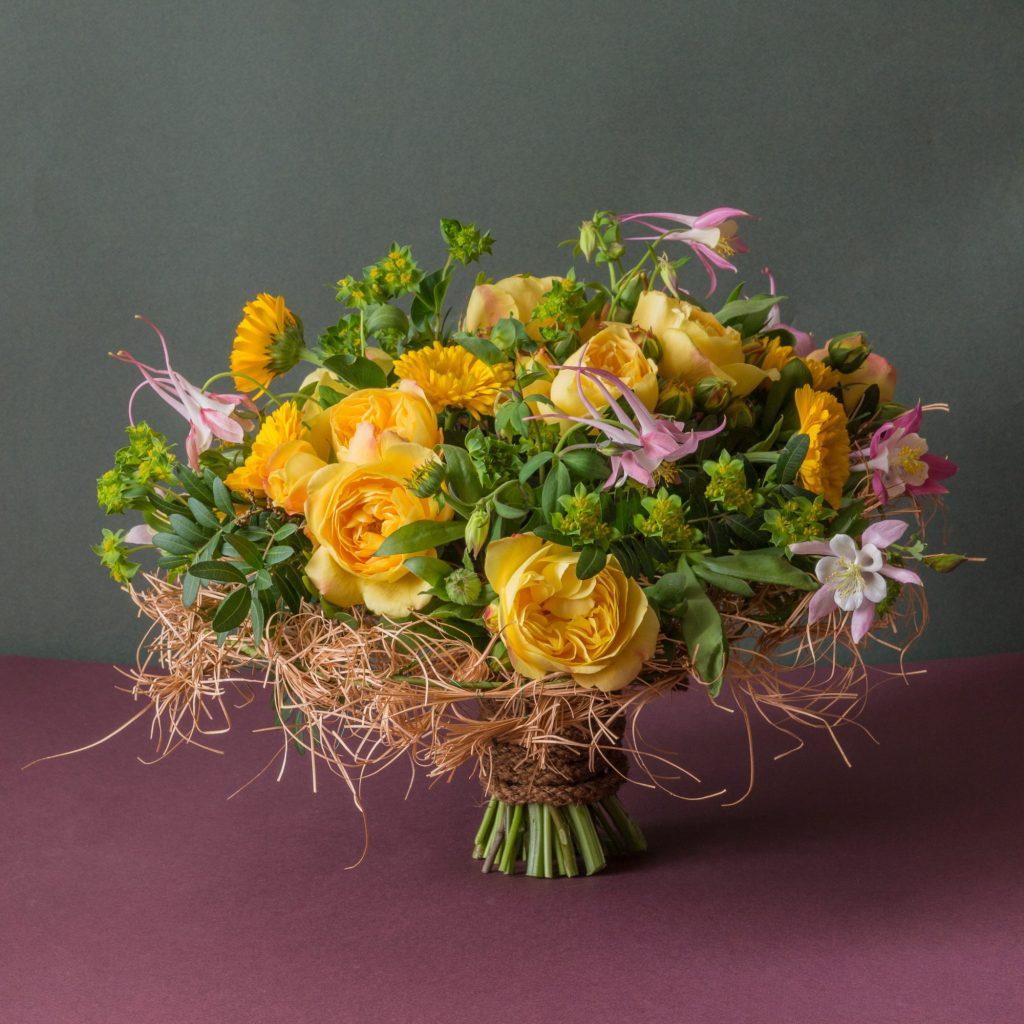 Bupleurum and orange flowers