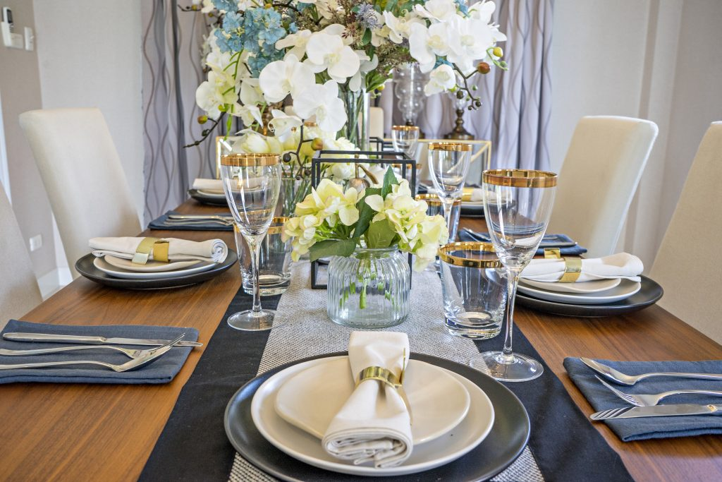 navy blue and grey wedding decor