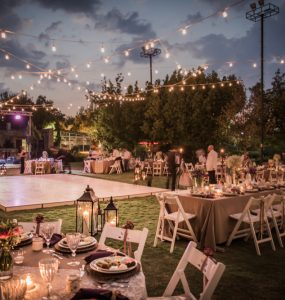 outdoor wedding venue with string lights