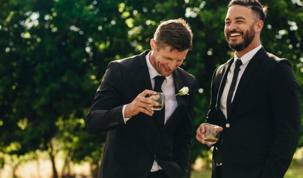 groom having a drink