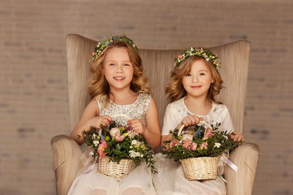 two flower girls at wedding