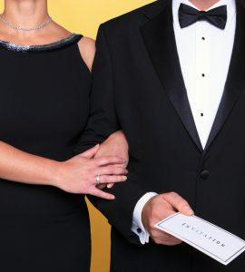 couple in black tie wedding attire